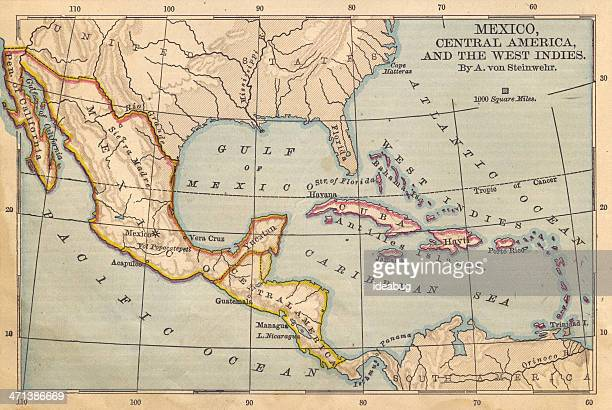Old Color Map of Mexico and Central America, From 1800's