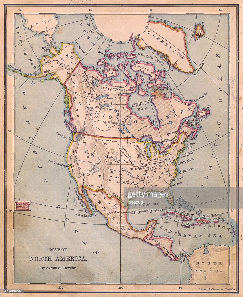 Old Color Map Of North America From 1870 Stock Photo | Getty Images
