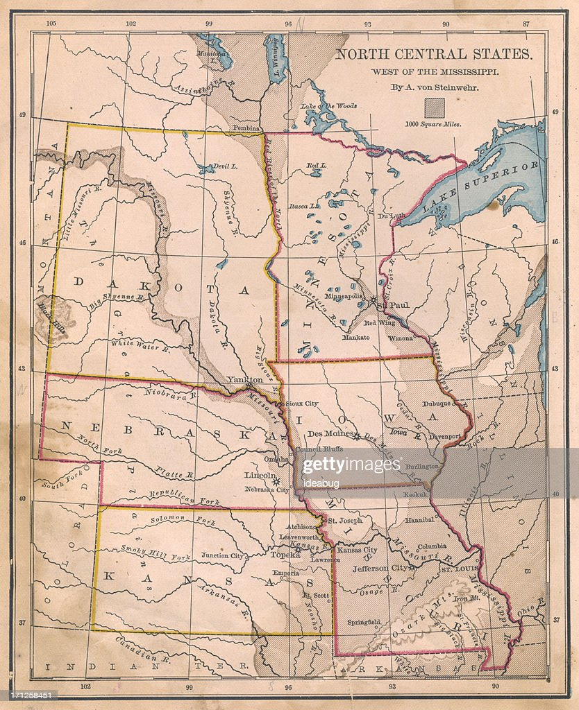 North Central Us Map.Old Color Map Of North Central States From 1800s Stock Photo Getty