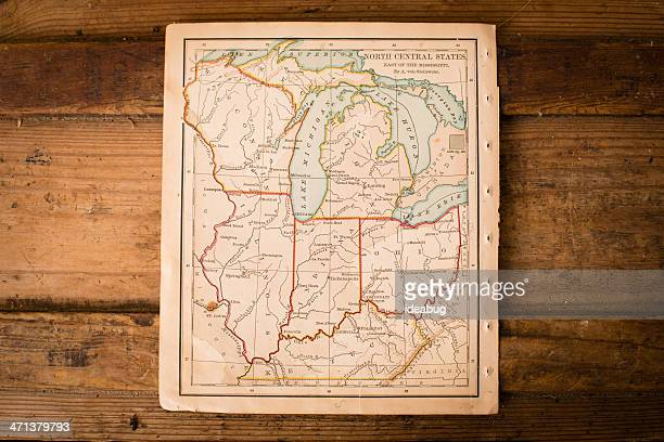 Old, Color Map of North Central States, Sitting on Trunk