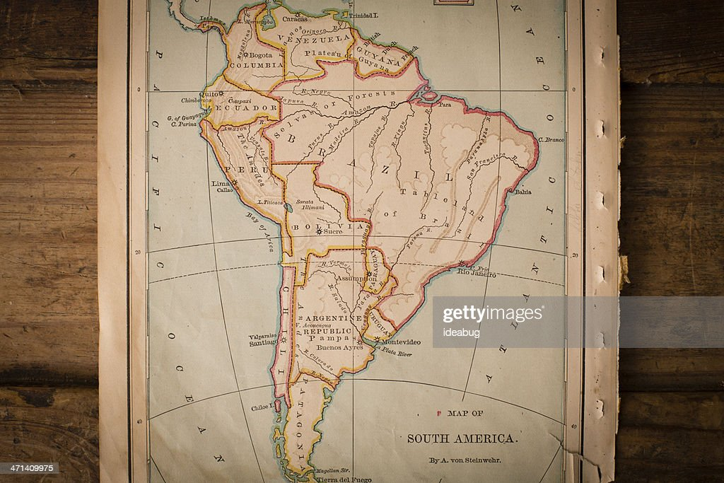 1800s Map Of America.Old Color Map Of South America From 1800s On Wood Stock Photo