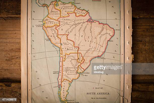 Old Color Map of South America, From 1800's, on Wood