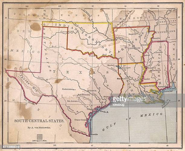old, color map of south central states, from 1800's - texas stock pictures, royalty-free photos & images