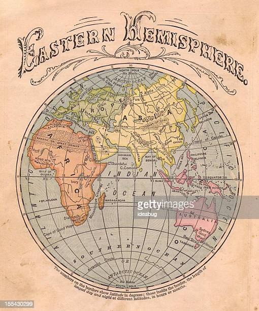 Old, Color Map of the Eastern Hemisphere, From 1867