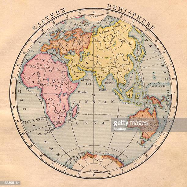 Old, Color Map of the Eastern Hemisphere From 1870