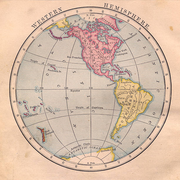 Old Color Map Of The Western Hemisphere From S Photoscom - 1800s world map