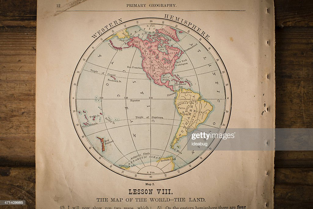 Old Color Map Of The Western Hemisphere From S Stock Photo - 1800s world map