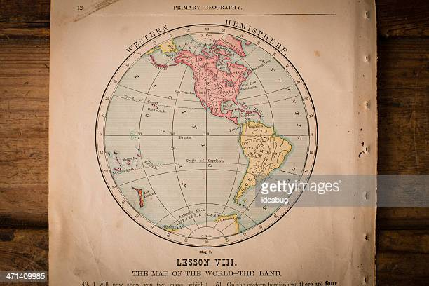 Old Color Map of the Western Hemisphere, From 1800's