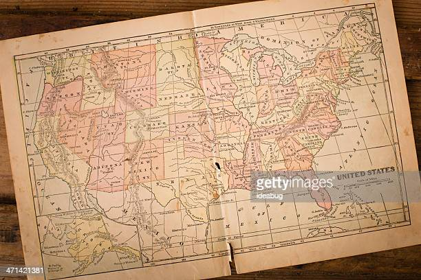 1867, Old, Color Map of United States, Sitting on Wood