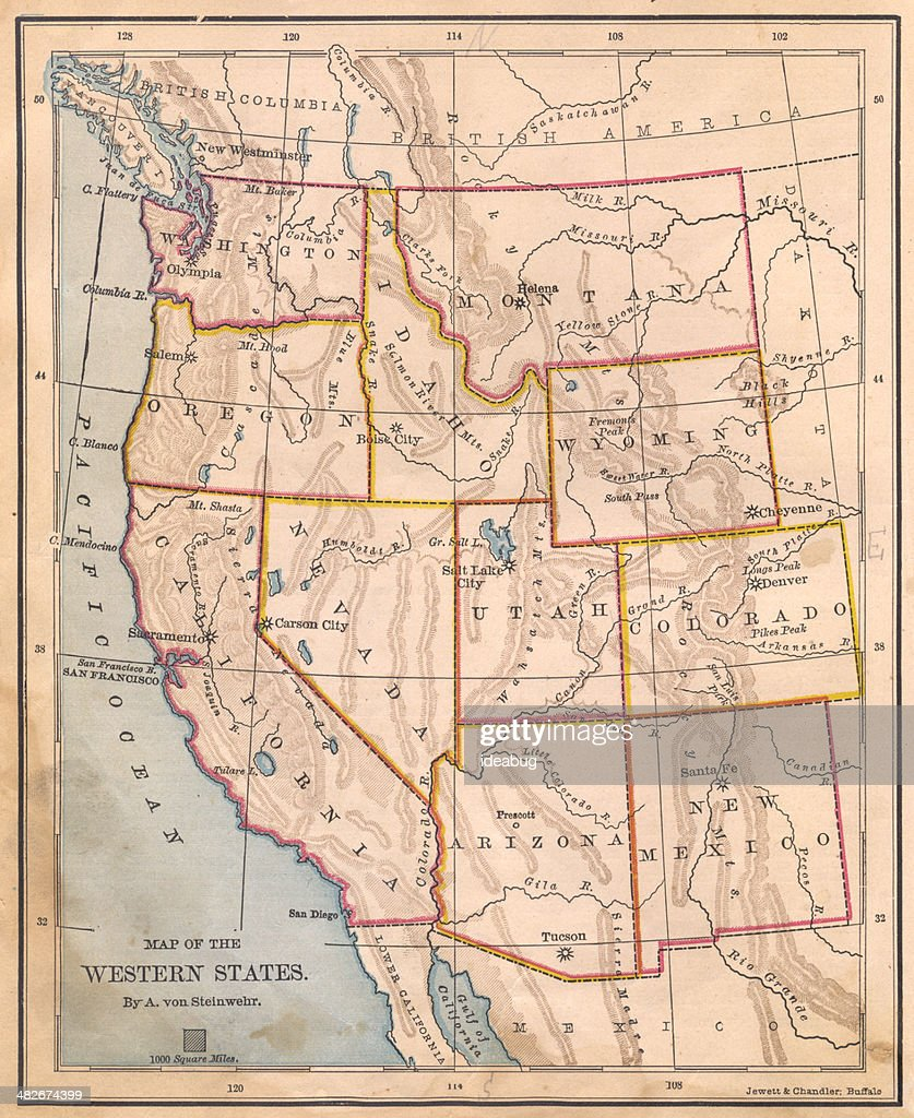 Old Color Map Of Western United States From 1800s Stock Photo ...