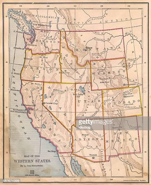 Alte Farbe Karte der westlichen USA, aus dem 19. Jahrhundert