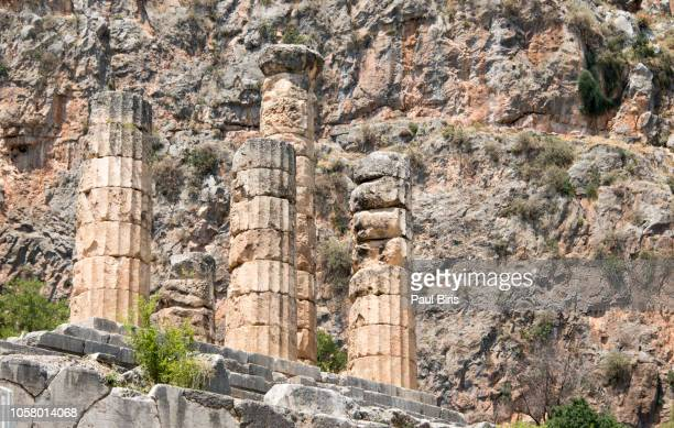 old columns in the ancient oracle of delphi in greece - ユネスコ ストックフォトと画像