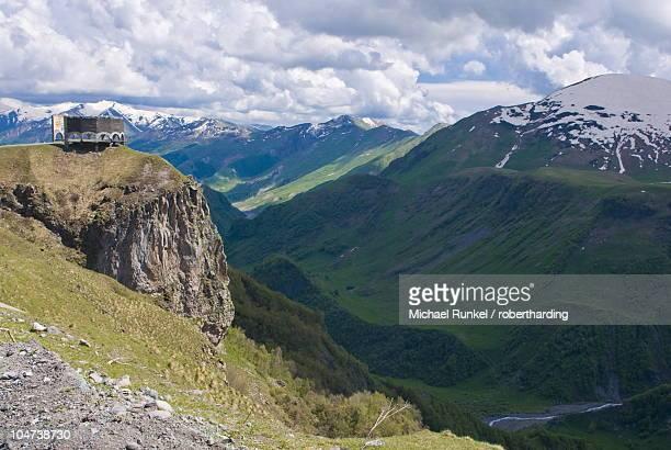 Old Communist viewing platform in the High Caucasus near Gudauri, Georgia, Caucasus, Central Asia, Asia