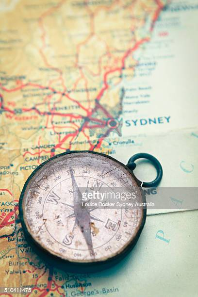 Old compass on map of New South Wales Australia