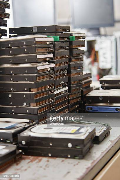 Old computer hard disks in recycling plant