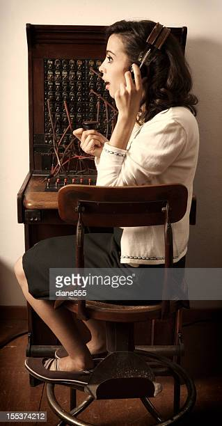 old cord switchboard operator, woman in chair