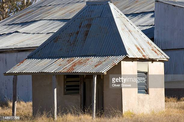 Old corrugated iron farm buildings.