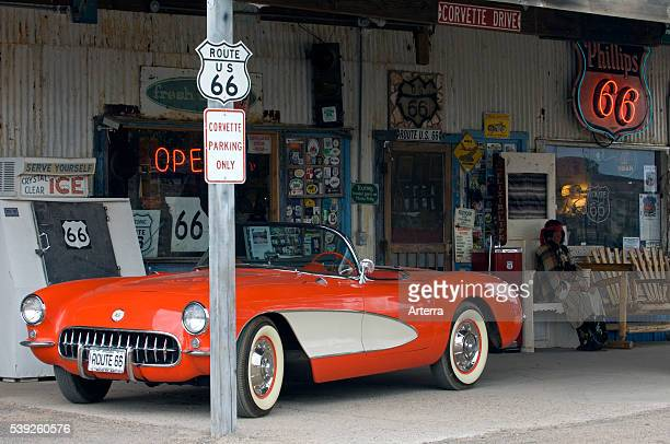 Old Corvette vintage car at gas pump of the General Store along the historic Route 66 in the Hackberry ghost town in Arizona US