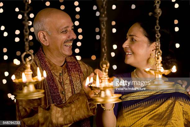 Old couple celebrating diwali