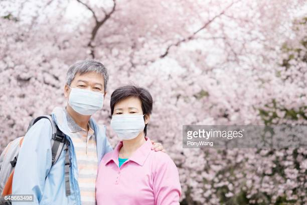 Old couple wear mask
