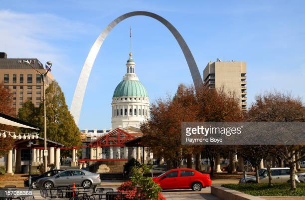 Old Court House and Gateway Arch, as photographed from Citygarden in St. Louis, Missouri on NOVEMBER 02, 2012.