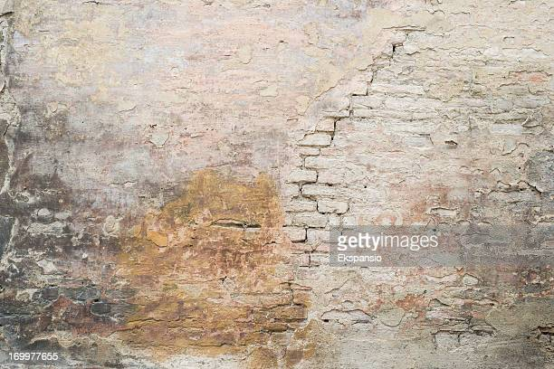 old cracked plastered medieval roman brick wall background texture - castle wall stock pictures, royalty-free photos & images
