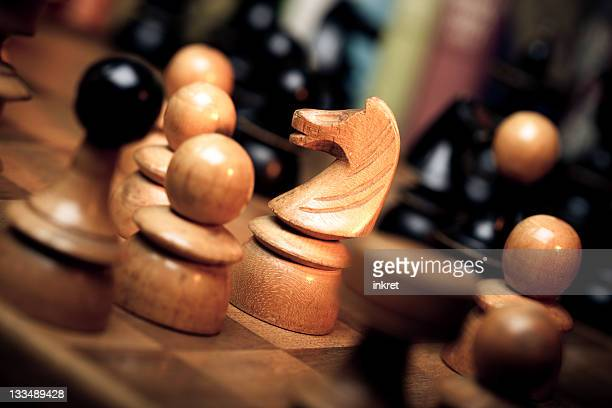 Old Craved Chess Set