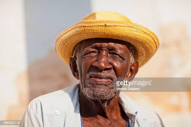 Old Cuban man wearing straw hat