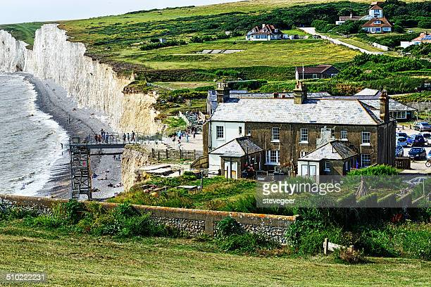 Old custom houses  and the beach at Birling Gap