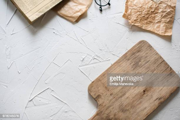 old cutting board on white vintage background - macedonia country stock pictures, royalty-free photos & images
