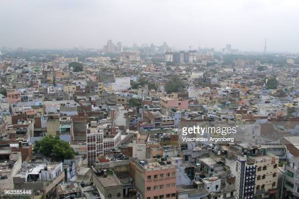 old delhi city skyline as seen from jama masjid mosque wall, delhi, india - argenberg stock pictures, royalty-free photos & images