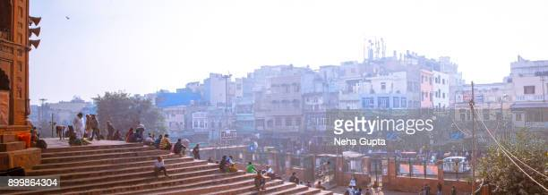 old delhi - city's panoramic view from the jama masjid - ancient stock pictures, royalty-free photos & images
