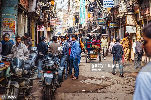 old delhi street scene - delhi stock pictures, royalty-free photos & images