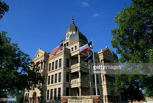old denton county courthouse on the downtown square - county stock pictures, royalty-free photos & images