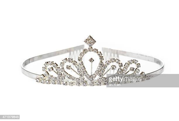 old diadem on white background - tiara stock pictures, royalty-free photos & images