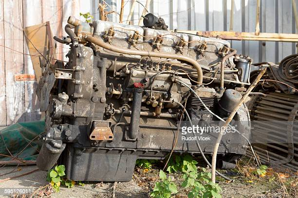 Old diesel engine taken out from vehicle