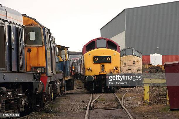 CONTENT] Old diesel trains at CF Booths Scrapyard in Rotherham