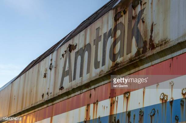 old dilapidated amtrak train engine - ian gwinn stock photos and pictures