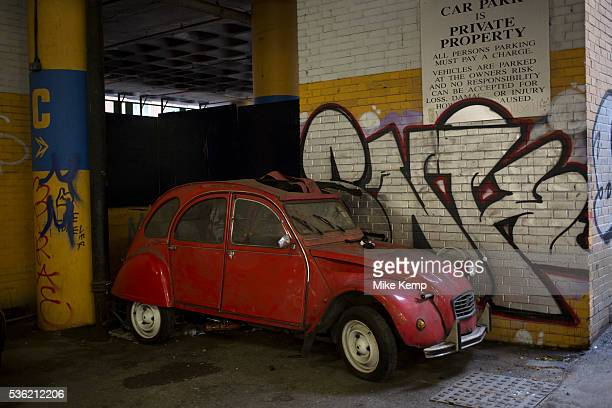 Old dirty broken Citroen 2CV car London England UK The Citroen 2CV is a frontengine frontwheeldrive aircooled economy car introduced at the 1948...
