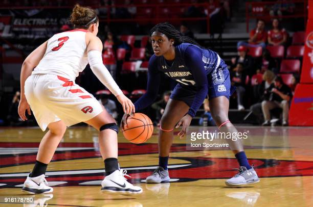Old Dominion Lady Monarchs guard Taylor Edwards dribbles as Western Kentucky Lady Toppers guard Sidnee Bopp guards her during the first period of the...