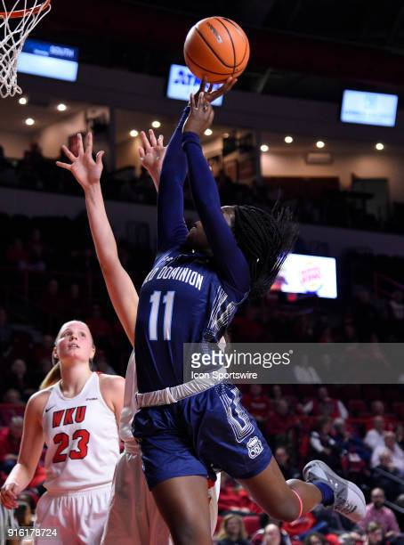 Old Dominion Lady Monarchs guard Taylor Edwards gets fouled by Western Kentucky Lady Toppers center Raneem Elgedawy during the first period of the...