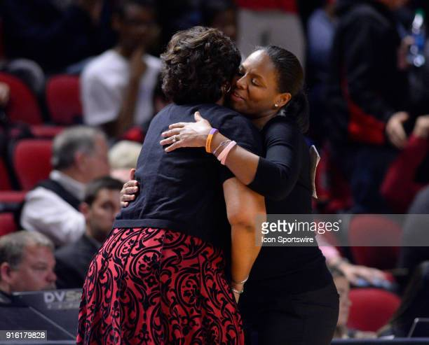 Old Dominion Lady Monarchs head coach Nikki McCray congratulates Western Kentucky Lady Toppers head coach Michelle ClarkHeard on the win during the...