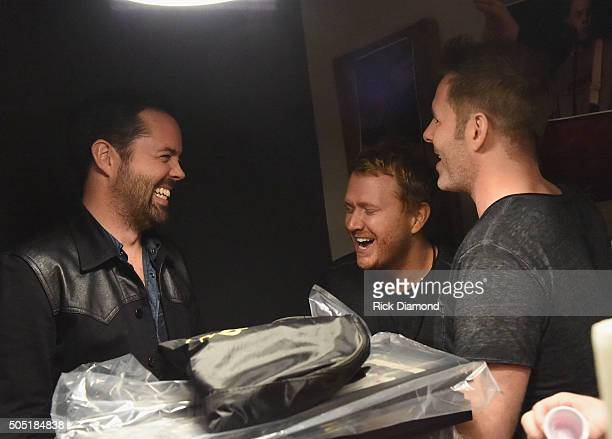 Old Dominion's Brad Tursi Singer/Songwriter Shane McAnally and Trevor Rosen backstage Opening Night of Old Dominion's Meat and Candy 2016 tour at...