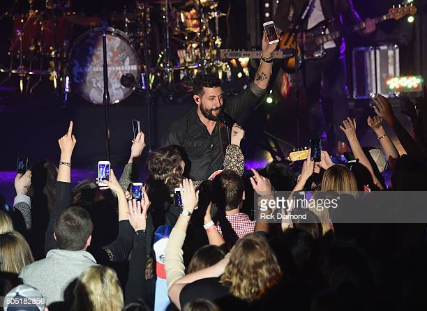 Old Dominion's Matthew Ramsey performs Opening night of their Meat and Candy 2016 tour at Marathon Music Works on January 14 2016 in Nashville...