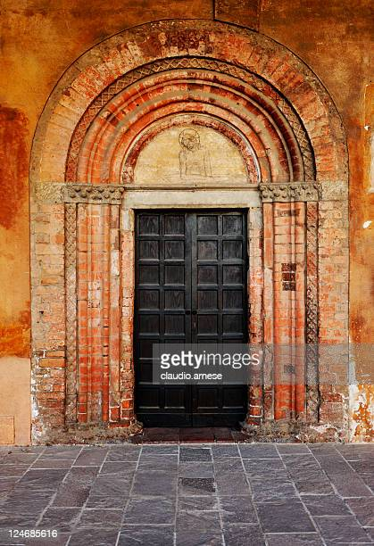 old door with arch. color image - architectural cornice stock photos and pictures