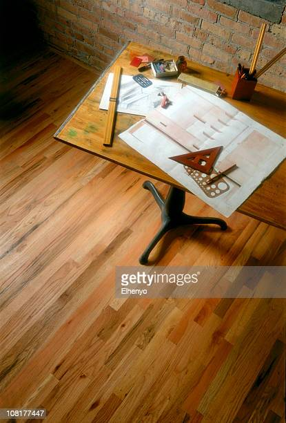 Old Drafting Table with Plans and Supplies