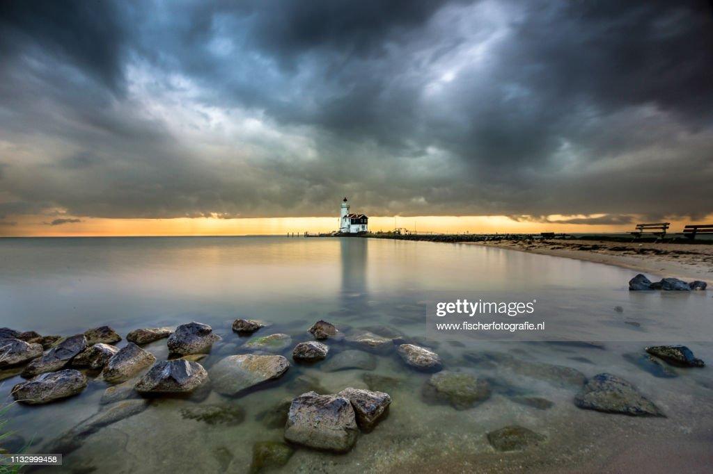 Old dutch lighthouse of Marken : Stock Photo