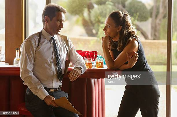AQUARIUS Old Ego is a Too Much Thing Episode 113 Pictured David Duchovny as Sam Hodiak Michaela McManus as Grace Karn