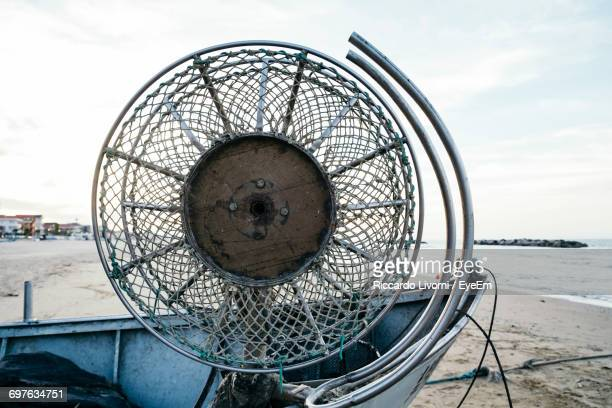 Old Electric Fan On Boat At Beach Against Sky