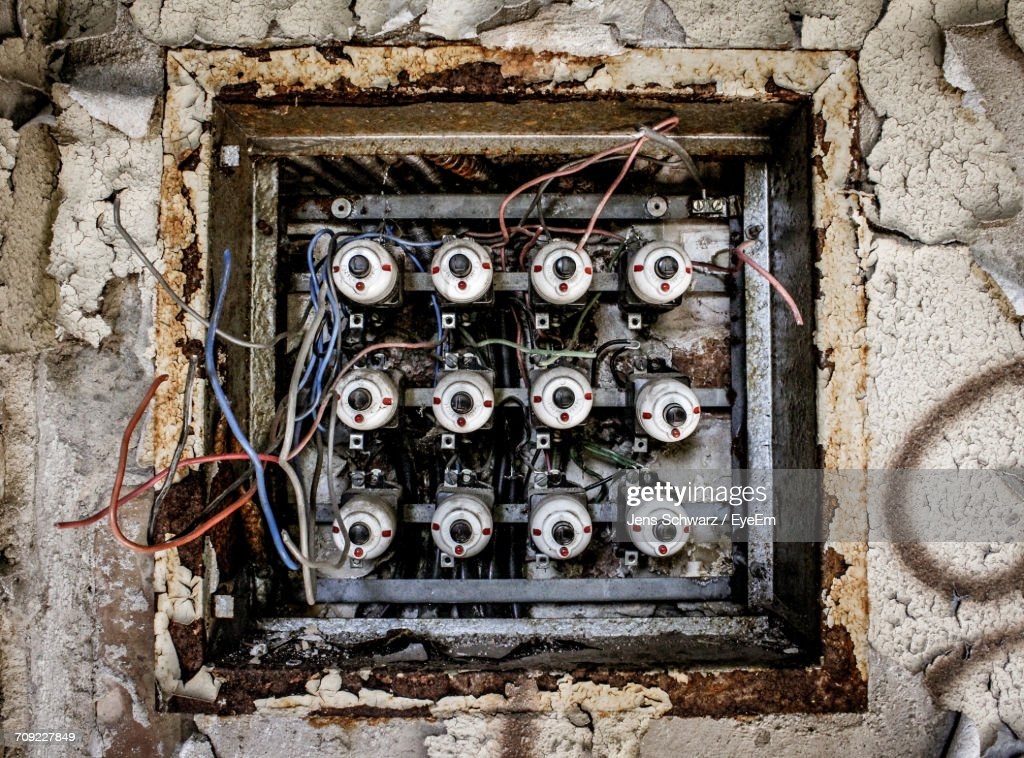 Astonishing Old Electric Meter Box On Weathered Wall Stock Foto Getty Images Wiring Database Aboleterrageneticorg